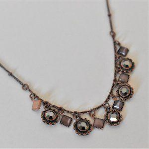 Lia Sophia Rose Gold Tone Crystal Charm Necklace